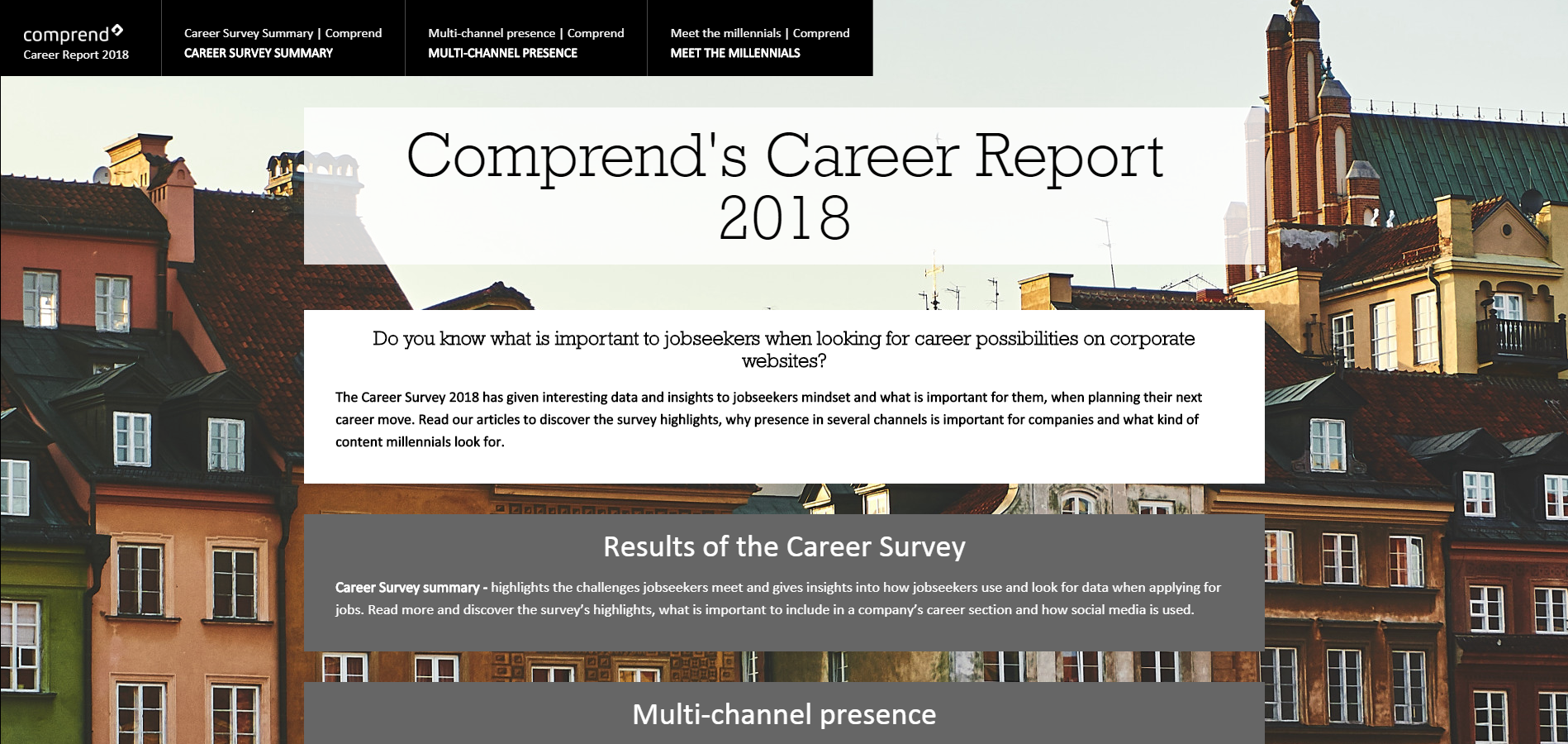 Screenshot of the Career Report 2018