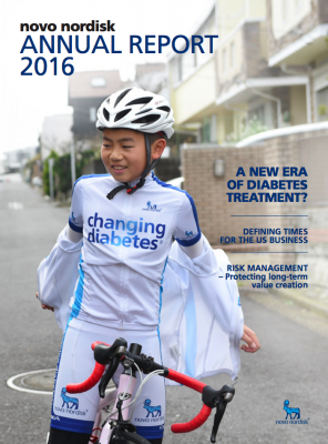Screenshot of Novo Nordisk's annual report 2016