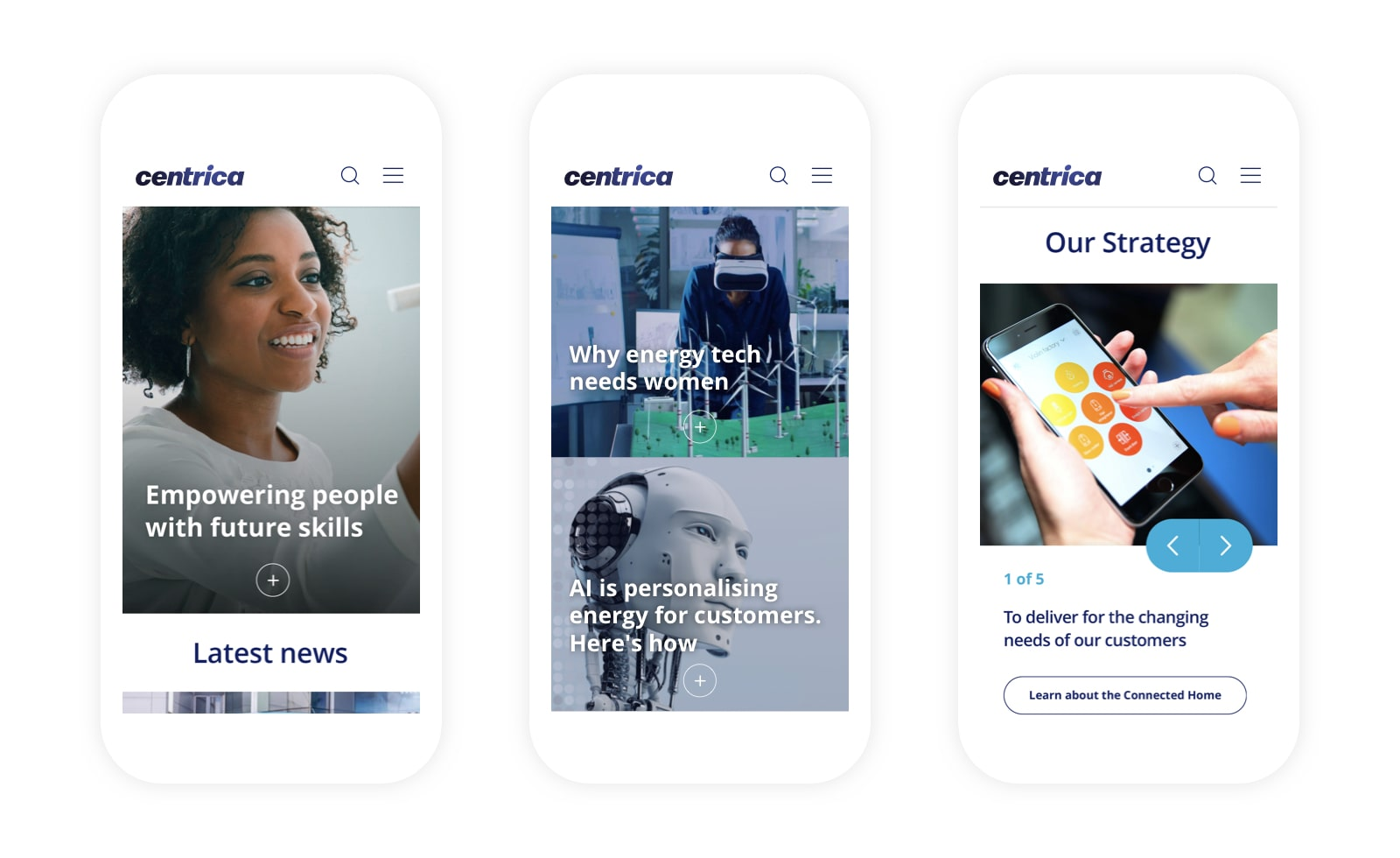 3 mobile designs of the new Centrica website