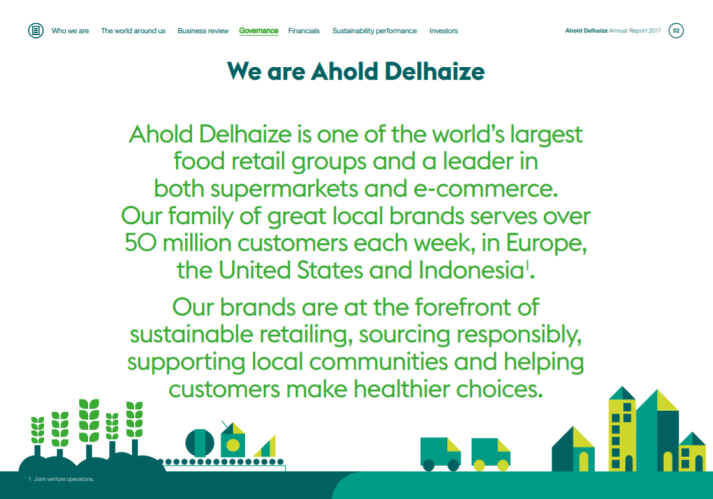 Screenshot of Ahold Delhaize's annual report