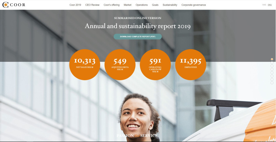 Screenshot of Coor's online summary of their Annual and Sustainability report 2019