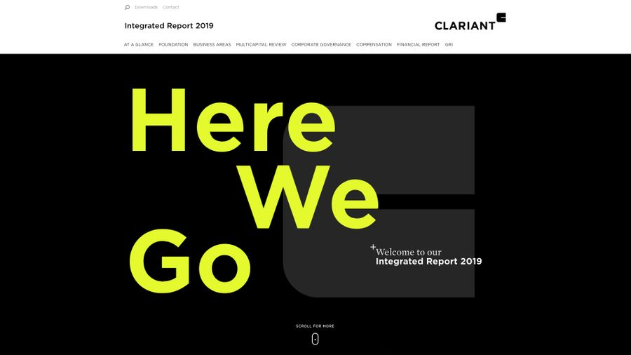 Screenshot of Clariant's annual report
