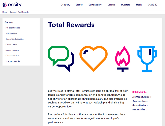 "A screen shot of Swedish company Essity's website. The screen shot shows the philosophy of Essity's program ""Total rewards"", which is intended to give both ""tangible and intangible"" incentives to employees."